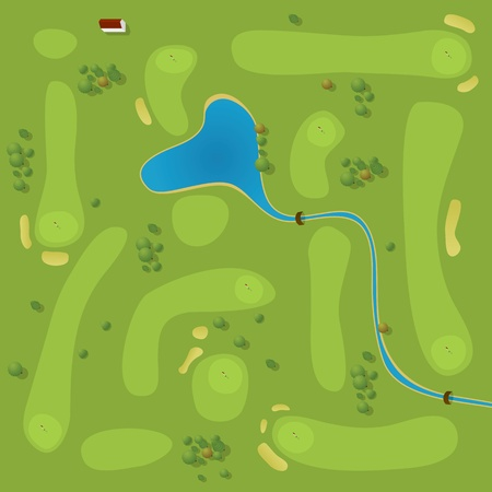 Vector plan of generic golf course Vector