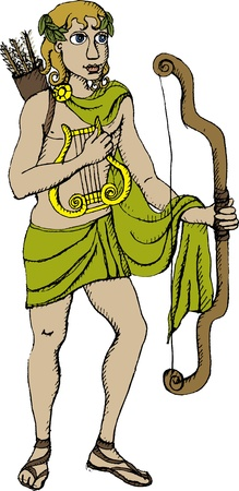 apollo: Vector illustration of Greek god Apollo