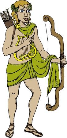 roman mythology: Vector illustration of Greek god Apollo