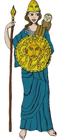 diosa griega: Ilustración vectorial de diosa griega Atenea