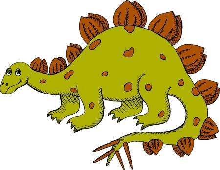 stegosaurus: Ilustración vectorial de color verde Stegosaurus