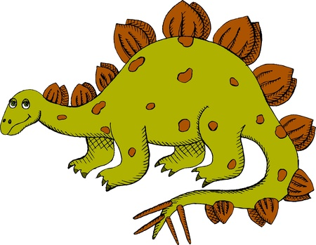 stegosaurus: Vector illustration of green Stegosaurus Illustration