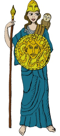athena: Vector illustration of Greek goddess Athena