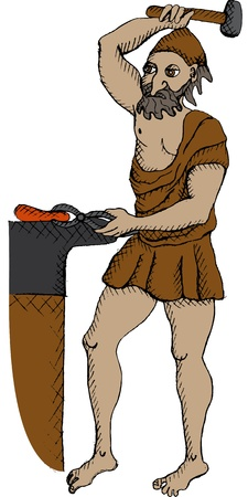 ancient blacksmith: Vector illustration of greek god Hephaestus Illustration
