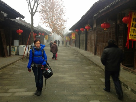 Woman standing in old city China  Stock Photo