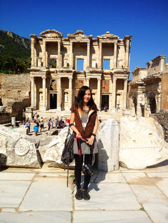Woman in front of Ephesus Turkey  Stock Photo