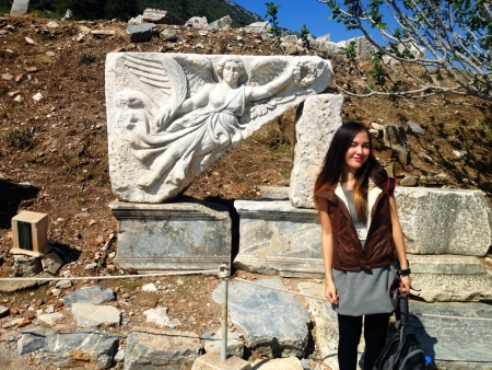 Nike statue in Ephesus Turkey Stock Photo