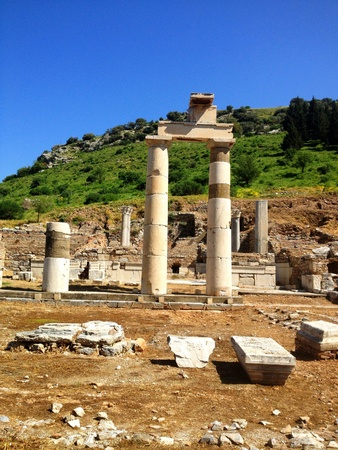 Columns in Ephesus Turkey