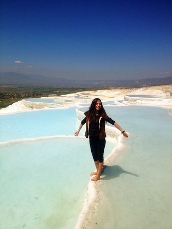 Woman standing in the water in Pamukkale Turkey  Stock Photo