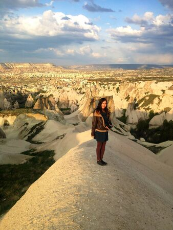 Woman with camera in Cappadocia  Stock Photo