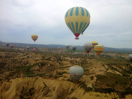 Balloons in the sky in Cappadocia