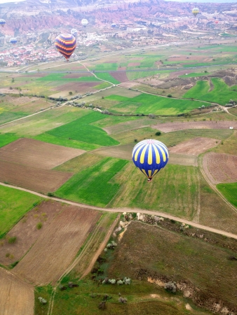 Balloons in the sky top view Cappadocia