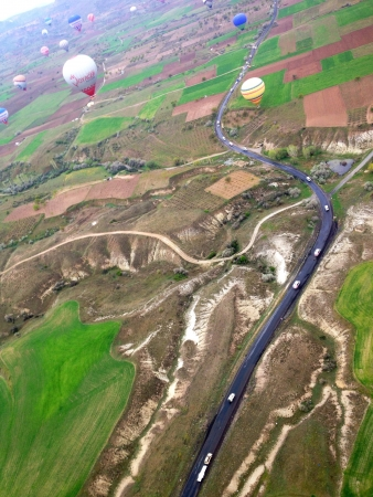 Top view of the road from balloons Cappadocia