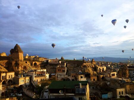 Early morning of balloons view in Cappadocia