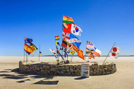National Flags at the world s largest salt flats, Salar de Uyuni, Bolivia