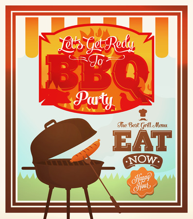 Barbecue Party poster - with Grill Menu, BBQ battle Card Design template