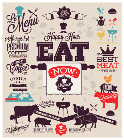 vintage graphic element on the menu for meat steak cow pig chicken divided into pieces of meat photo