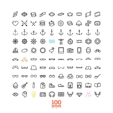 100 hipster line icon set! wow! all you need! - Trendy thin and simple icons for Web and Mobile. Light version