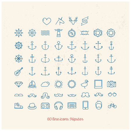 windsurf: Hipster line icons Illustration