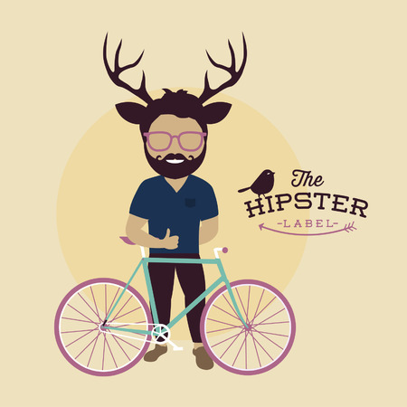Hipster character illustration with bicycle and bird, typography, vector, editable Vector