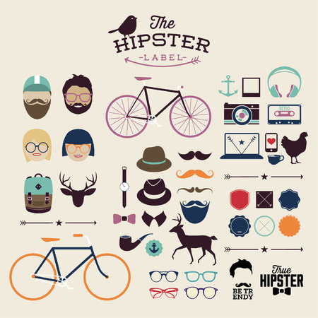 sir: Hipster style infographics elements and icons set for retro design. With bicycle, phone, sunglasses, mustache, bow, anchors, apple and camera. Vector illustration.