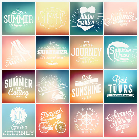 summer season: 16 Vintage styled Summer typographyc Card - Set of calligraphic and typographic elements, frames, vintage labels. Ribbons, stickers, - all for Summer Holiday