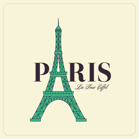 Paris text with tower eiffel. Romantic postcard from Paris. Vector illustration. creative typographic message Vector