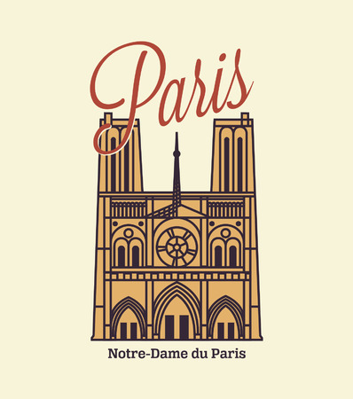 notre: Paris text with Notre Dame illustration Retro Style Poster With Paris Symbols And Landmarks