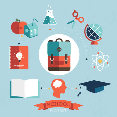 management system: Flat design vector illustration concept of school and equipment devices on stylish background.