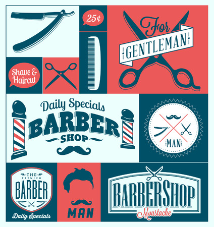straight razor: Set of vintage barber shop graphics and icons