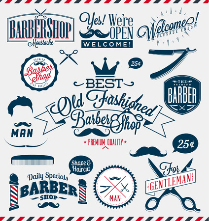 Set of vintage barber shop logo graphics and icons Vector