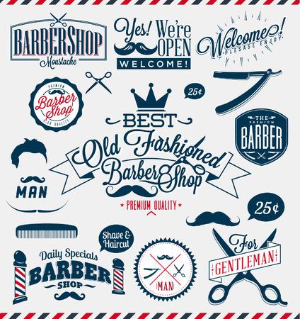 barber shop: Set van vintage kapperszaak logo afbeeldingen en pictogrammen