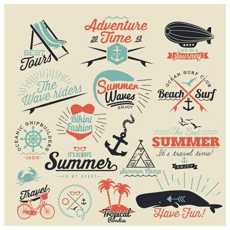 timbre voyage: Éléments rétro pour l'été calligraphiques | ornements Vintage | Tout pour des vacances d'été | paradis tropical, la mer, le soleil, tournée week-end, vacances à la plage, bon voyage, étiquettes d'aventure | vector set Illustration