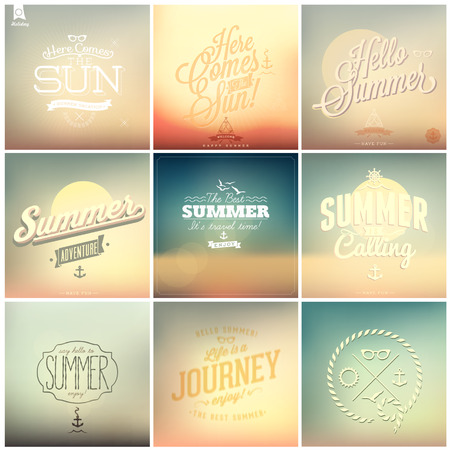 flip flop: 9 Vintage styled Summer Card - Set of calligraphic and typographic elements, frames, vintage labels. Ribbons, stickers, - all for Summer Holiday Illustration