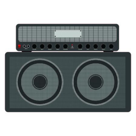 guitar amplifier: Guitar amplifier - flat design
