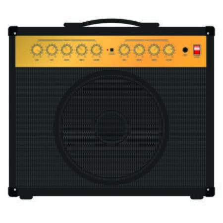 guitar amplifier: Guitar amplifier combo - flat design