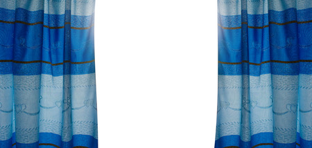 blue curtain: the blue curtain opening on white background Stock Photo