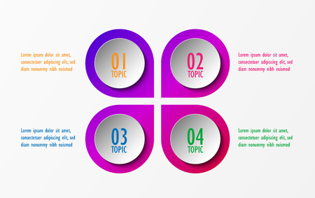 3D infographic template four options, Business circle diagram