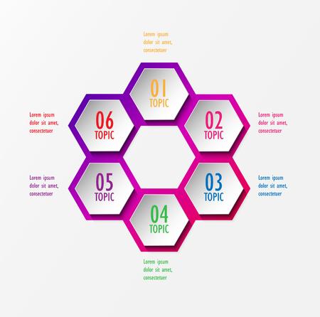 3D infographic template six options, Business hexagonal diagram Ilustração