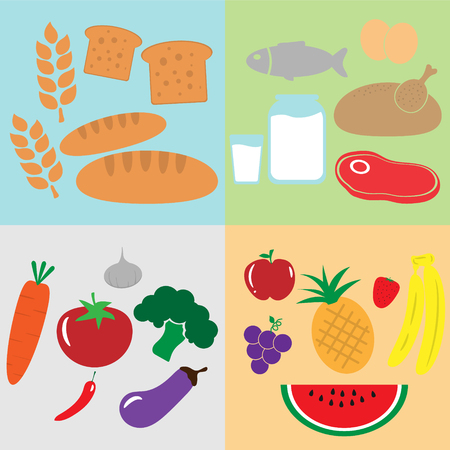 Group of food flat design, carbohydrate, protein, vitamin and dietary mineral Ilustração