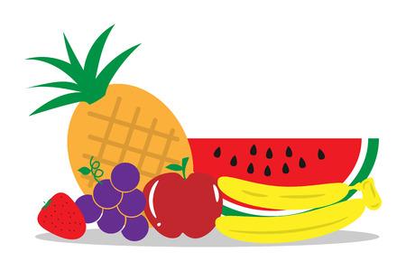 Group of fruits flat design Ilustração