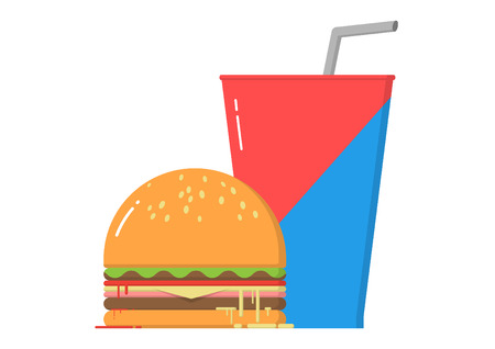 Hamburger and soda Ilustração