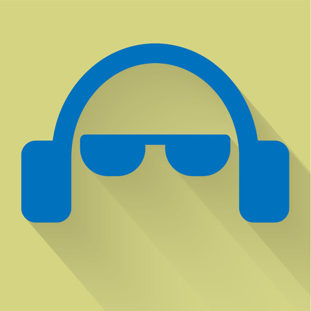 Headphone and glasses flat icon