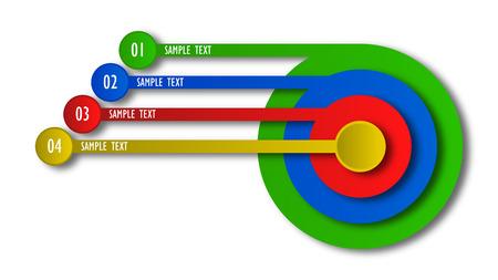 3D circle infographic four option template Ilustração