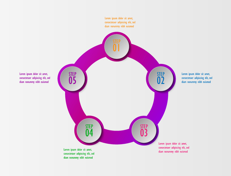 3D infographic template five options, Business circle diagram