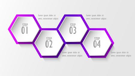3D infographic template four options, Business hexagonal diagram