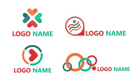 Logo flat design template set