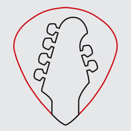 Guitar headstock in guitar pick icon Illustration