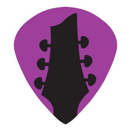 Guitar headstock in guitar pick icon Ilustração