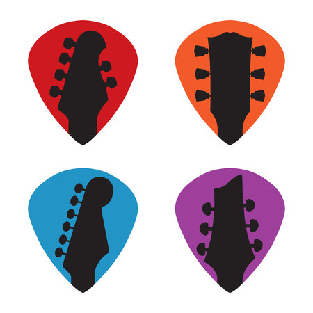 Guitar headstock in guitar pick icon set 向量圖像